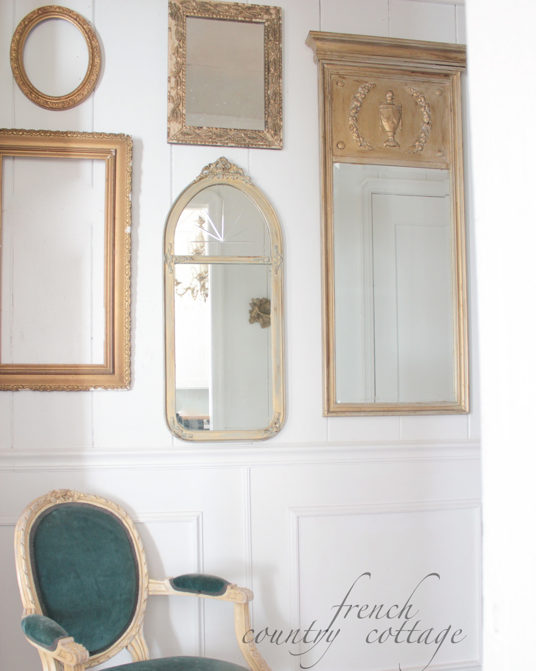 Gallery Wall of Frames & Mirrors - FRENCH COUNTRY COTTAGE