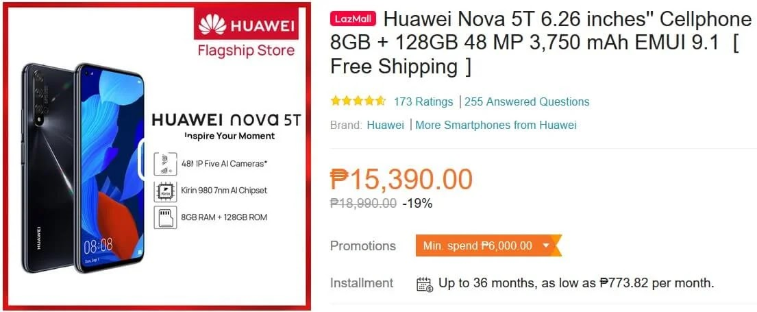 Sale Price of Huawei Nova 5T in Lazada Philippines Last March