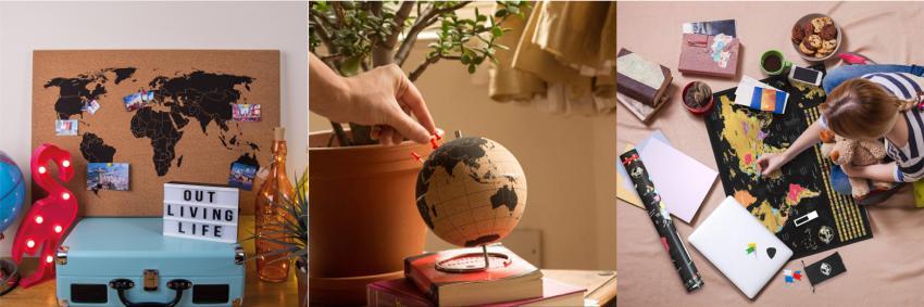 Mappe del mondo e mappamondi in sughero o grattabili