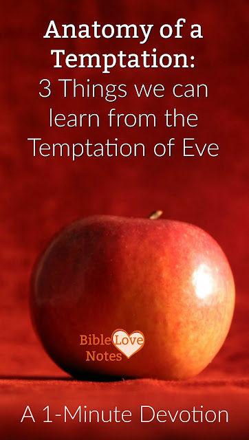 The temptation of Eve gives us some helpful warnings about the way Satan tempts us today. This 1-minute devotion explains. #BibleLoveNotes #Temptation #Eve #Devotions #Bible