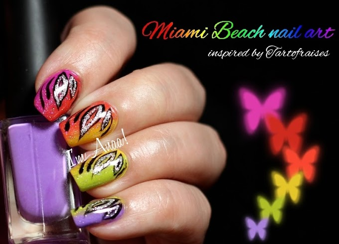 Miami Beach nail art for my Guest Post at Smashley Sparkles ♥