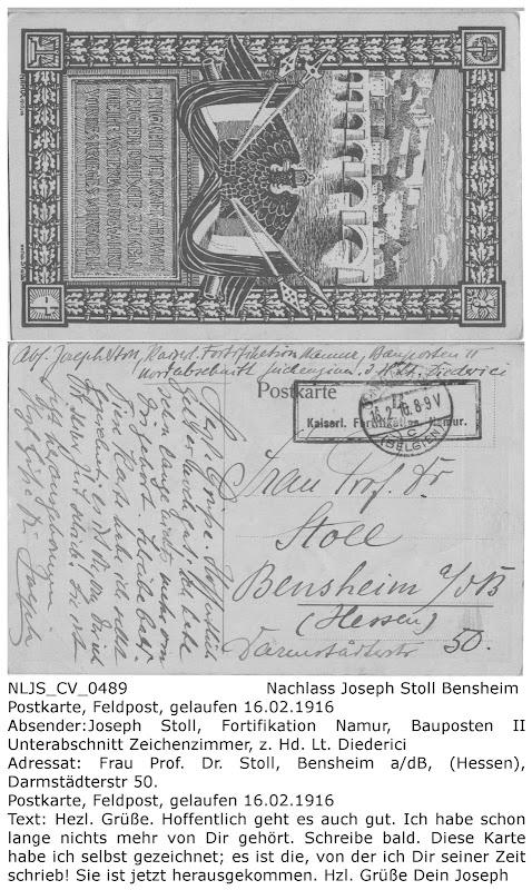 NLJS_CV_0489 Postkarte gelaufen 16.02.1916; Joseph Stoll an Katharina Stoll (Mutter), Nachlass Joseph Stoll Bensheim, Stoll-Berberich 2016