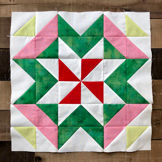 Peppermint Bark Quilt Block designed by Jessica Dayon for Moda bake shop