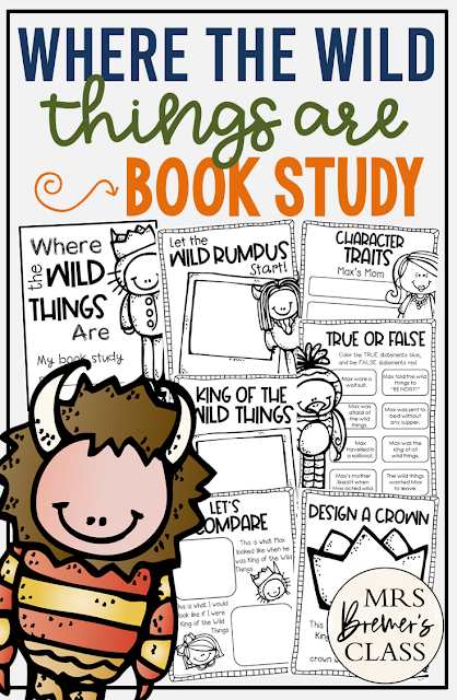 Where the Wild Things Are book study unit with Common Core aligned literacy companion activities for Kindergarten and First Grade
