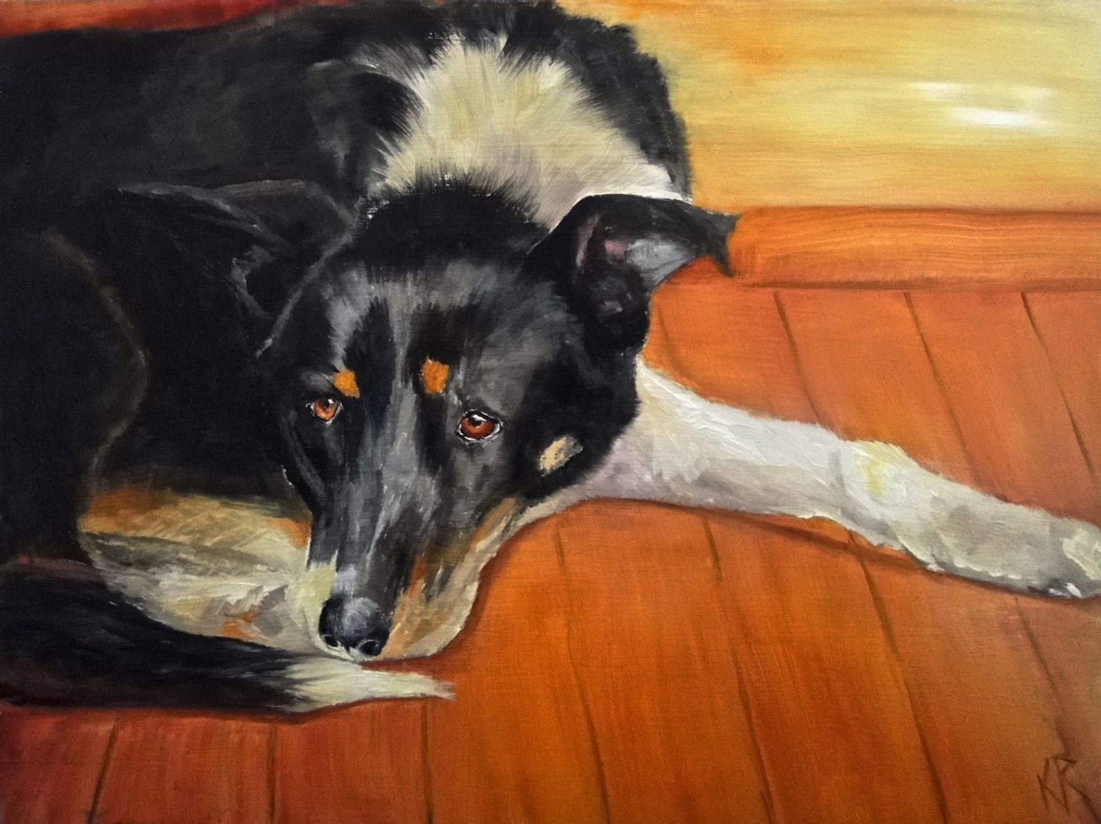 thoughtful dog, oil painting of a collie, pet portrait by karen
