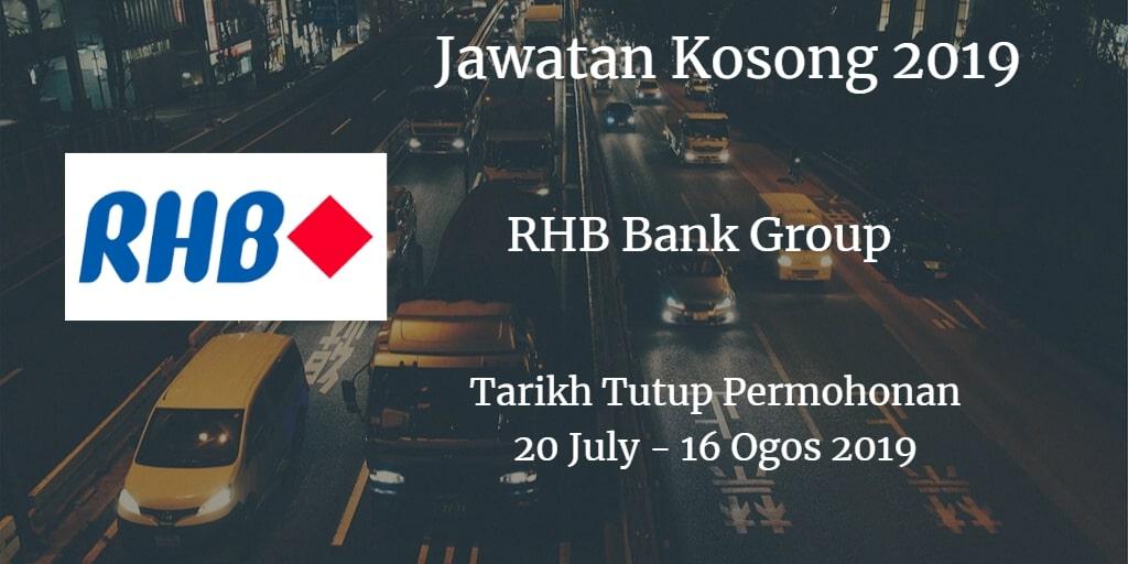 Jawatan Kosong RHB Bank Group 20 July - 16 Ogos 2019