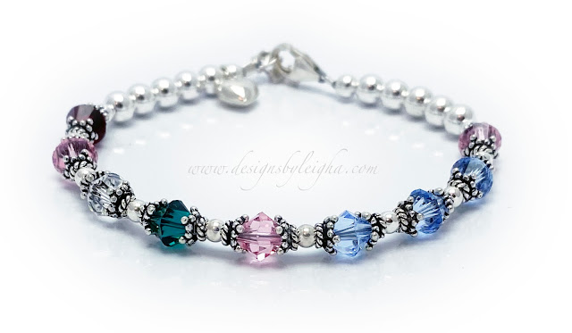 Birthstone Charm Bracelet for Mom for Mother's Day with a Puffed Heart Charm