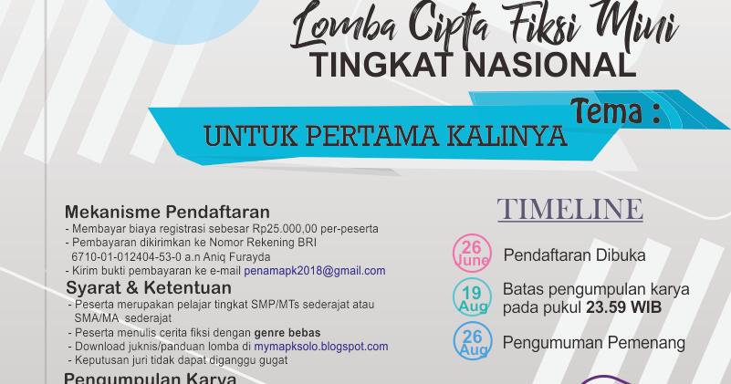 Lomba Cipta Cerita Fiksi Mini Tingkat Nasional Man 1 Surakarta 2018