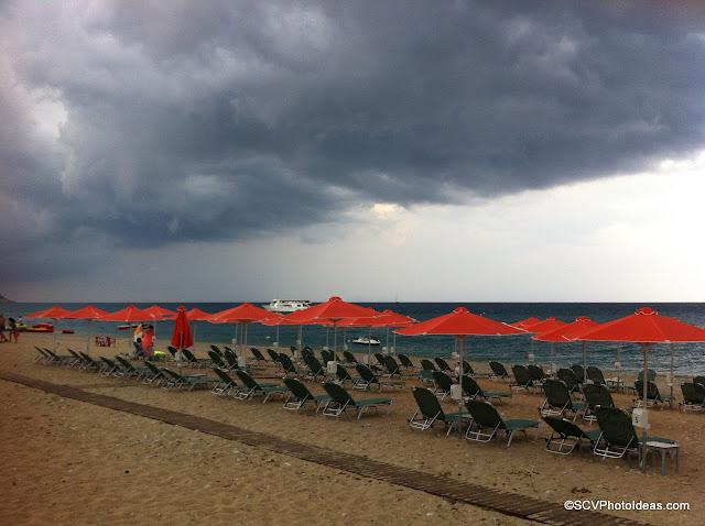 Dark gray clouds overcasting Skala-beach I