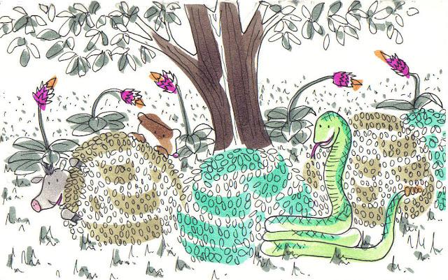 Cuento sobre una serpiente cascabel muy presumida