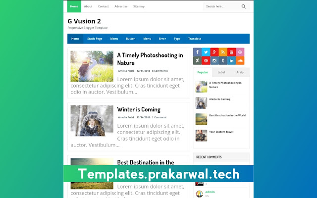 G-Vusion 2 Free Blogger Template