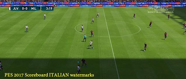 PES 2017 Italian Watermark Sky & Premium HD Scoreboard