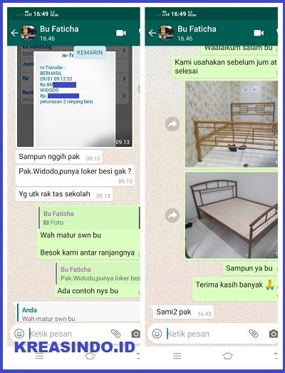 Ranjang Besi Minimalis 2 Unit pesanan Bu Faticha di Jatiwaringin Bekasi