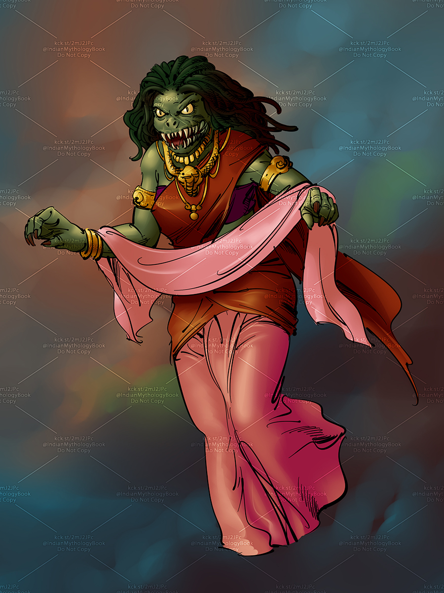 demon illustration for indian mythology illustrated picture book
