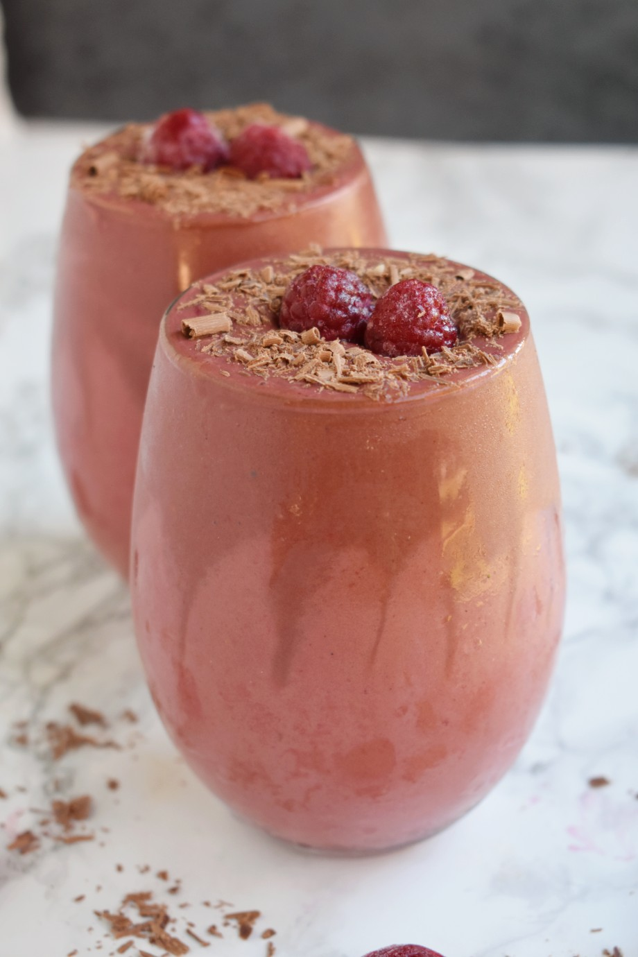 glass of chocolate raspberry smoothie