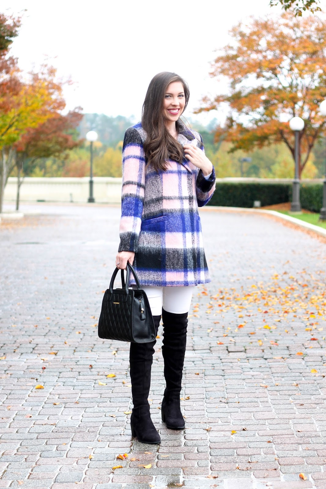 Plaid Coat by Elle at Kohls, fall trends, winter plaid coat with white denim, white denim in the fall, over the knee boots, OTK boots, forever 21 over the knee boots, forever21 OTK faux suede boots, pretty in the pines blog, shelby vanhoy