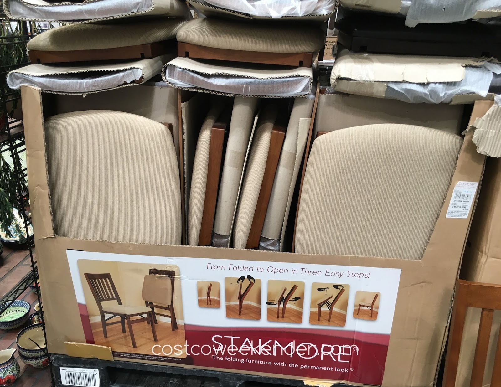 Stakmore Wood Folding Chair with Upholstered Seat