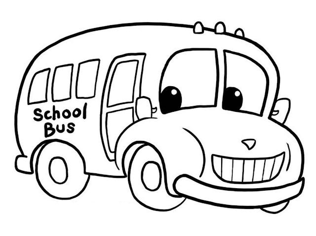 Gambar Mewarnai Bus Sekolah