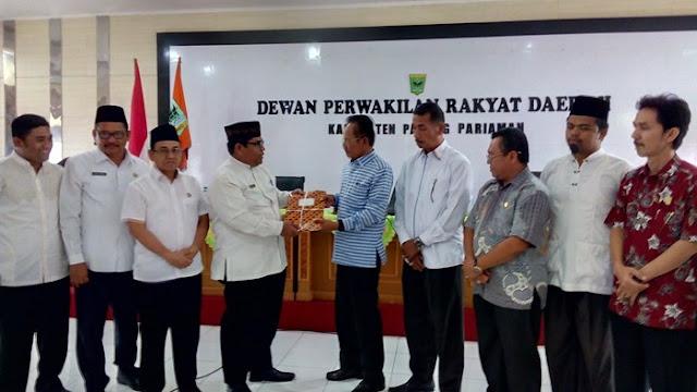 KUA dan PPAS Padang Pariaman Tahun 2018 Mulai Dibahas Eksekutif dan Legislatif