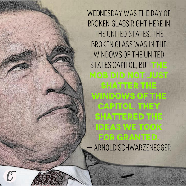 Wednesday was the day of broken glass right here in the United States. The broken glass was in the windows of the United States Capitol, but the mob did not just shatter the windows of the Capitol. They shattered the ideas we took for granted. — Former California GOP Gov. Arnold Schwarzenegger