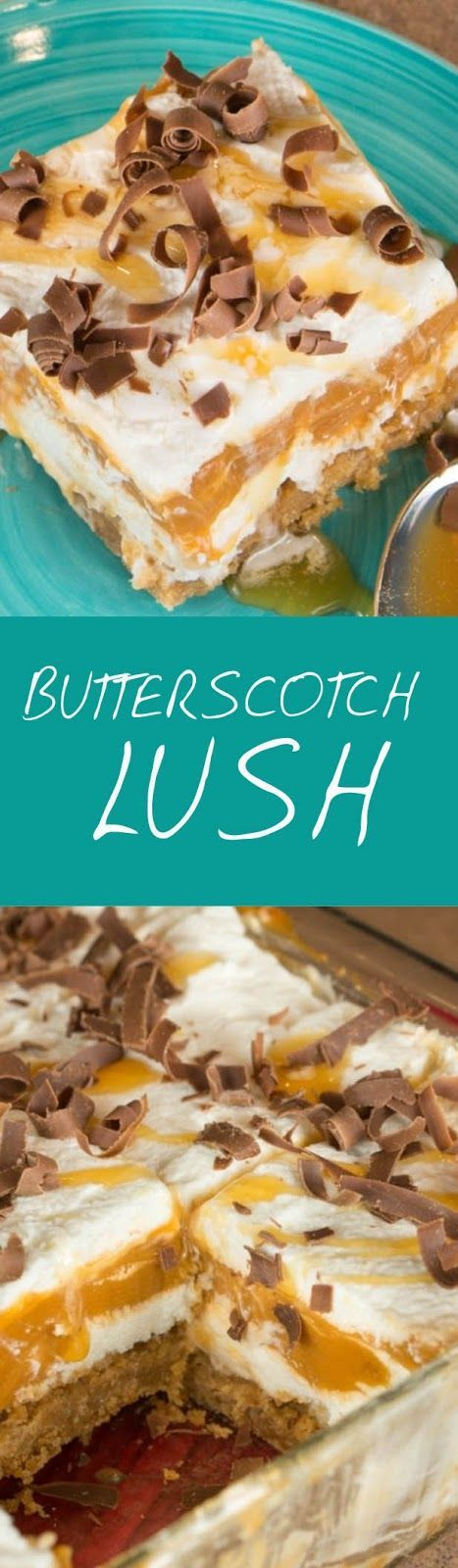 Butterscotch Lush has a delicious and buttery crust made from Pecan Sandies crumbs, a cream cheese layer, a creamy butterscotch pudding layer, and a layer of whipped topping on top. It's an almost no-bake dessert that is perfect for summer potlucks and picnics.