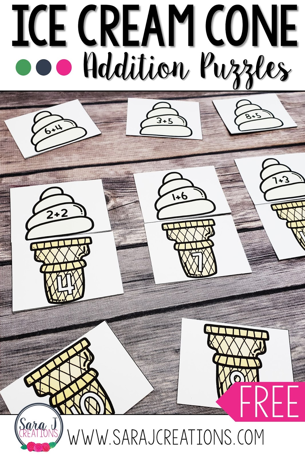 These free ice cream addition puzzles are perfect for helping your kindergartner or first grader practice their math facts. Check out the other ice cream themed freebies included in this post.