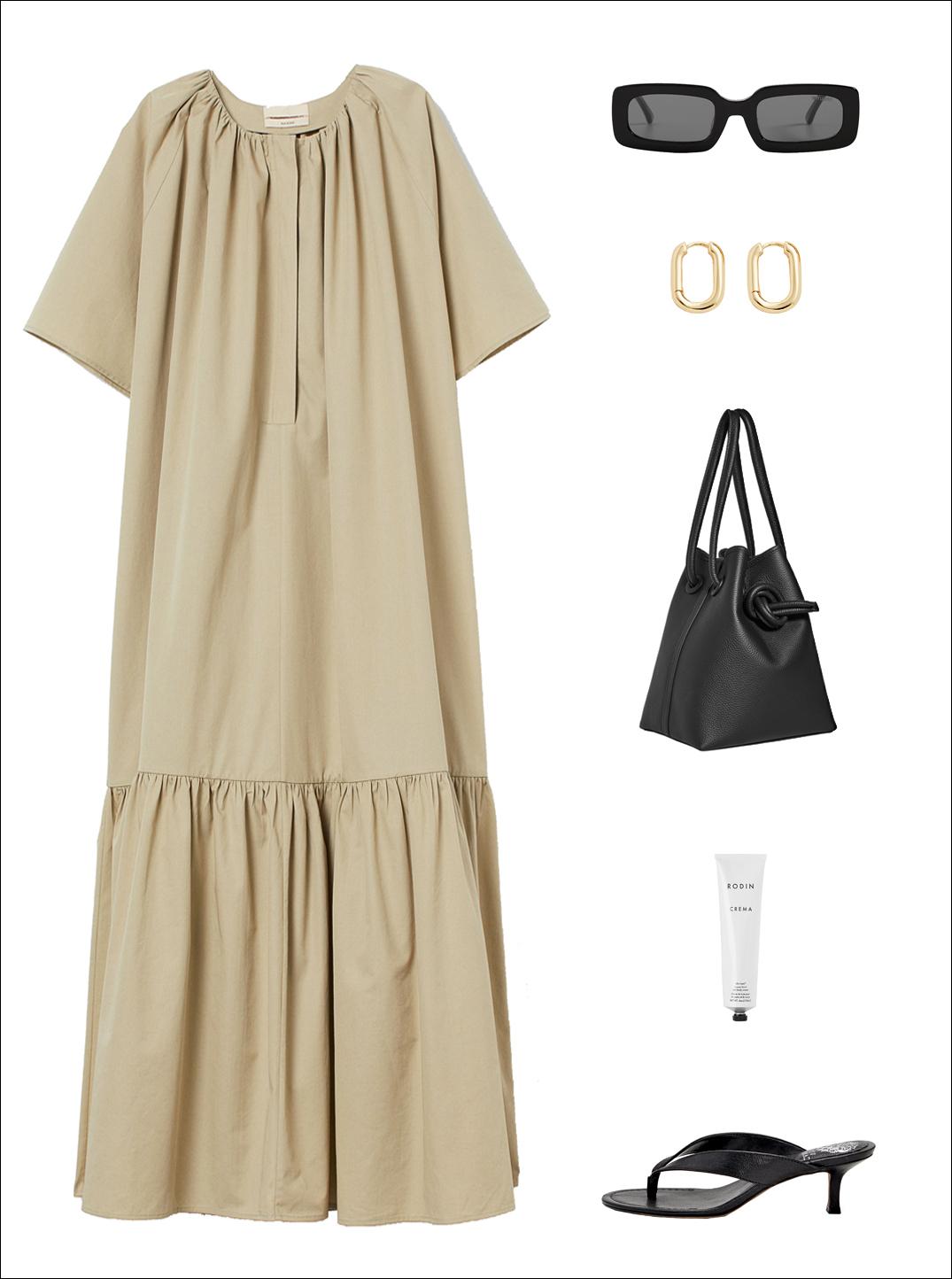 Minimalist Spring Outfit Idea: Oversized Tan Dress, Rectangle Sunglasses, Oval Hoop Earrings, Black Bucket Bag, Rodin Cream, and Flip Flop Kitten Heel Sandals