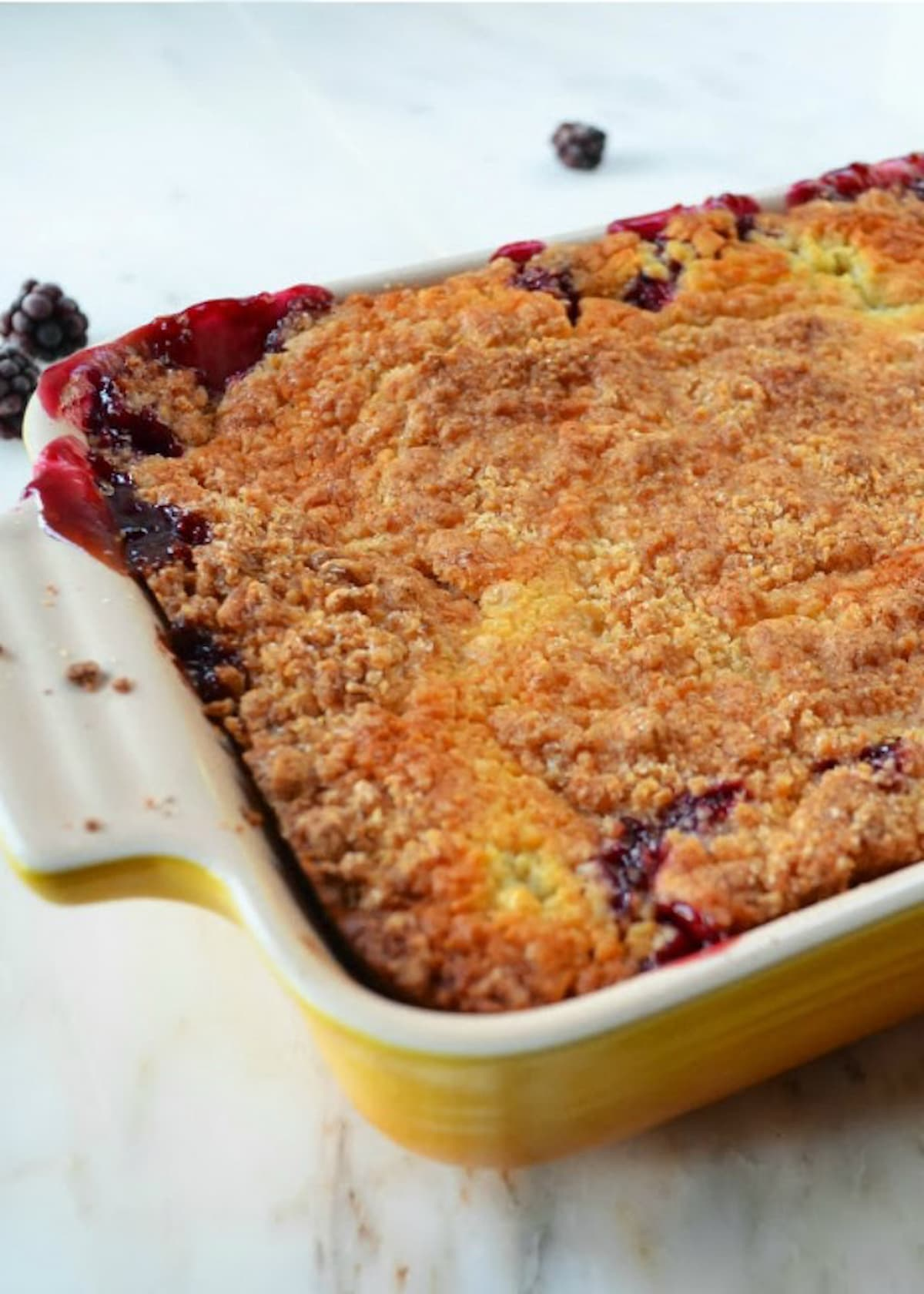 Blackberry Cobbler in a pan.