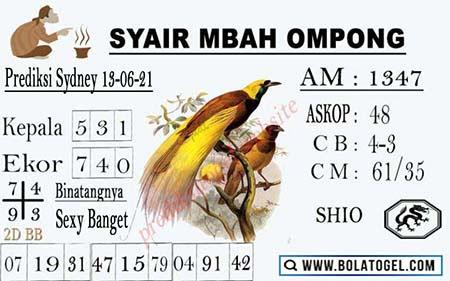 Syair Mbah Ompong SGP Minggu 13-06-2021