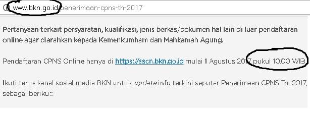 Pendaftaran CPNS 2017, Dibuka Pukul 10.00 WIB