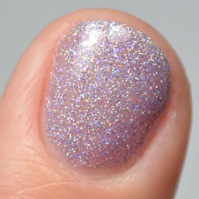 purple holo nail polish close up swatch
