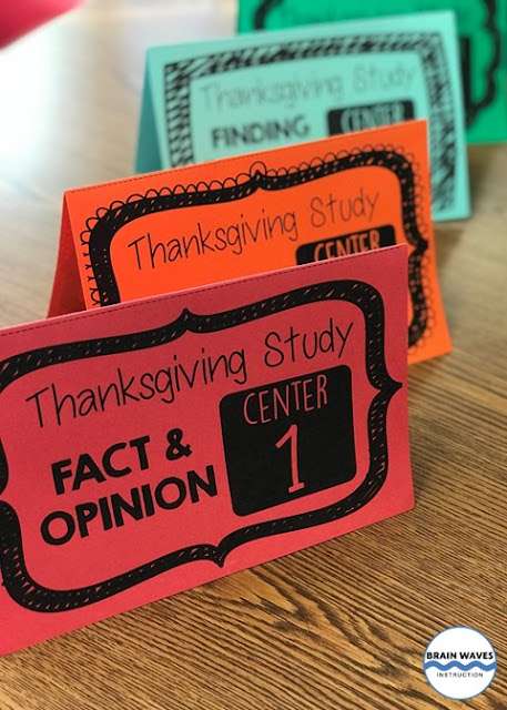 Thanksgiving reading comprehension centers to help students practice their reading skills and learn about Thanksgiving.