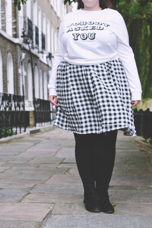 Plus size gingham skirt