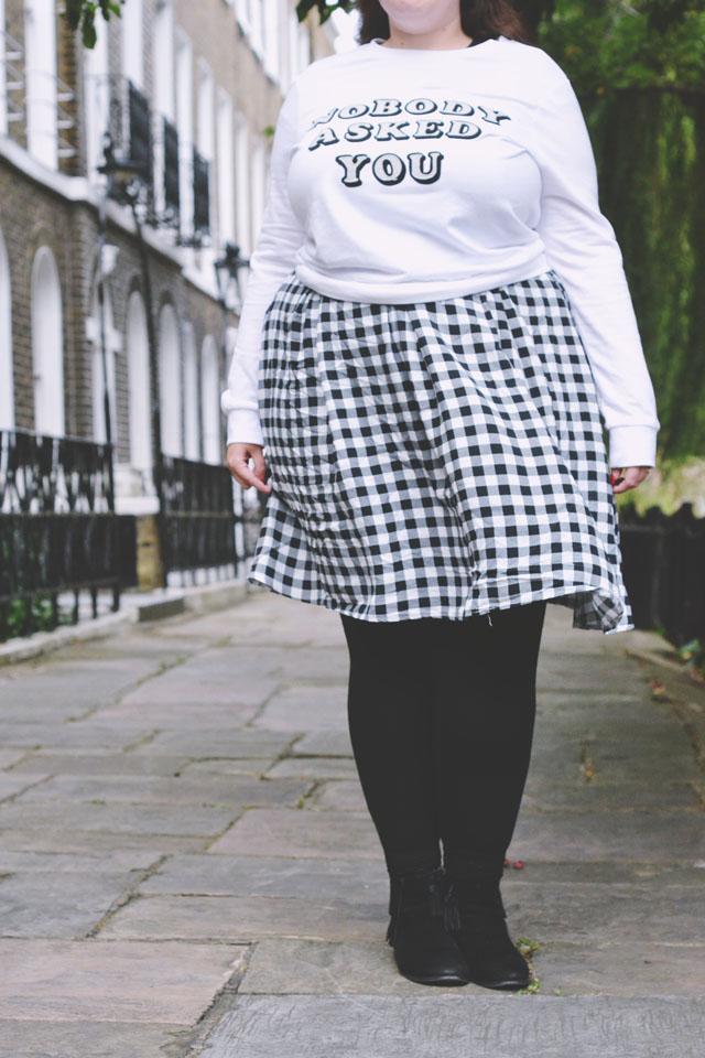 Plus size gingham skirt