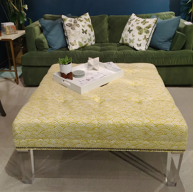 Acrylic leg ottoman with bold yellow fabric