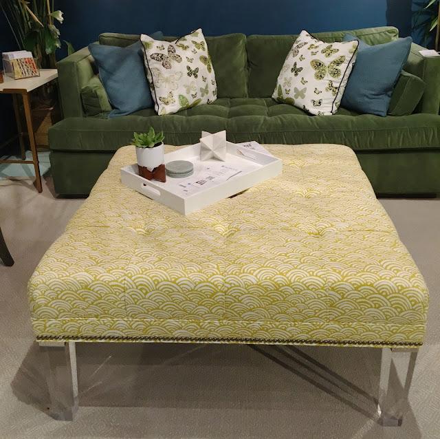 Acrylic leg ottoman with bold yellow fabric