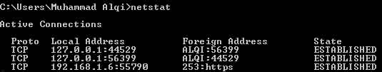 Untuk mengetahui IP Address komputer lain atau IP Address orang lain dalam satu jaringan Anda hanya perlu mengetikkan netstat pada CMD untuk komputer atau pada Termux untuk Android kemudian tekan enter.
