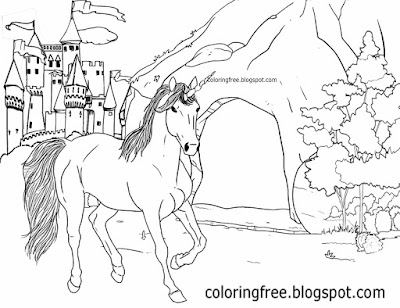Fantasy land cave magic castle printable unicorn drawing mythical coloring book pictures for kids