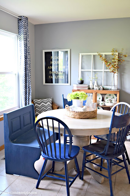 Navy Blue farmhouse kitchen bench makeover with Diva of DIY Chalk Mix Paint