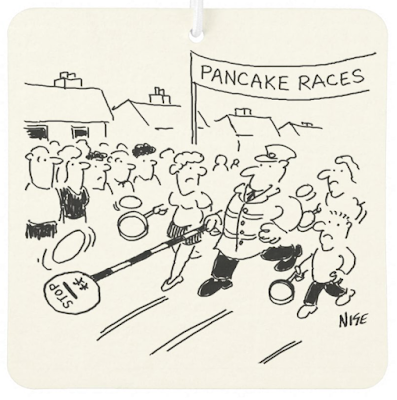Lollipop man competes in a pancake race