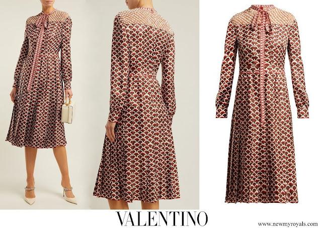 Queen Maxima wore Valentino scale-print silk twill midi dress