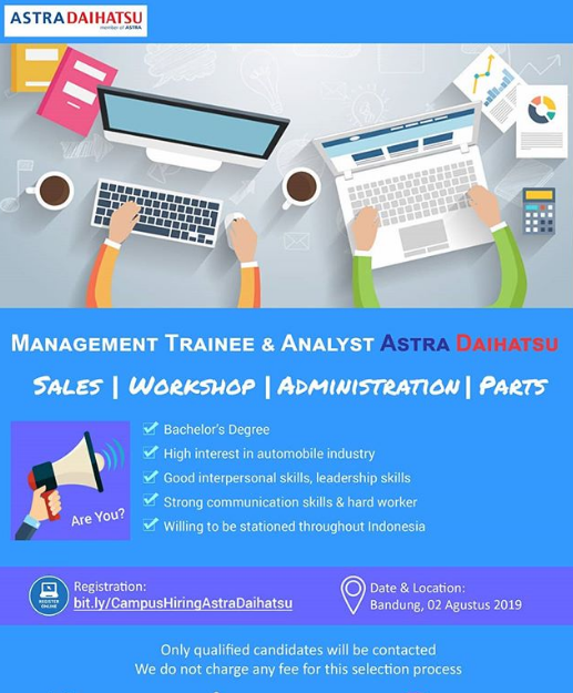 Lowongan Kerja Management Trainee Astra Daihatsu & Analyst PT Astra Daihatsu Motor Sampai 2 Agustus 2019