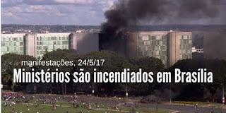 Ministérios são incendiados e depredados em Brasília