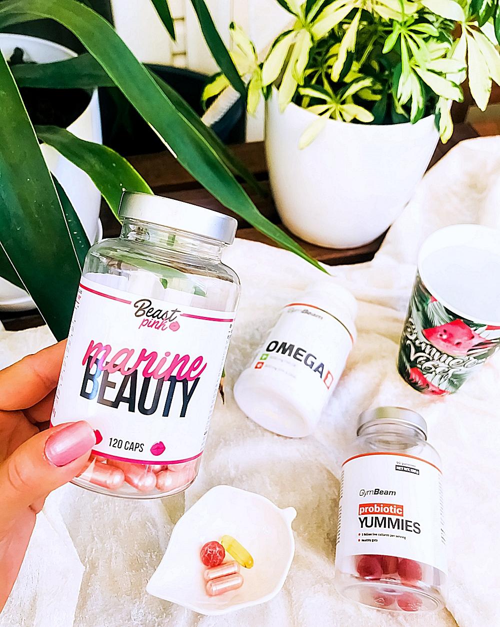 Gymbeam supplements omega 3 probiotic yummies, Beast Pink marine beauty 120 capsules