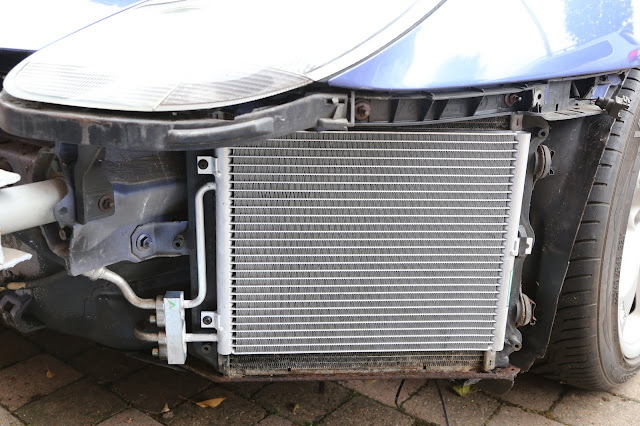 Porsche 911 996 air conditioning condenser replacement - new unit fitted