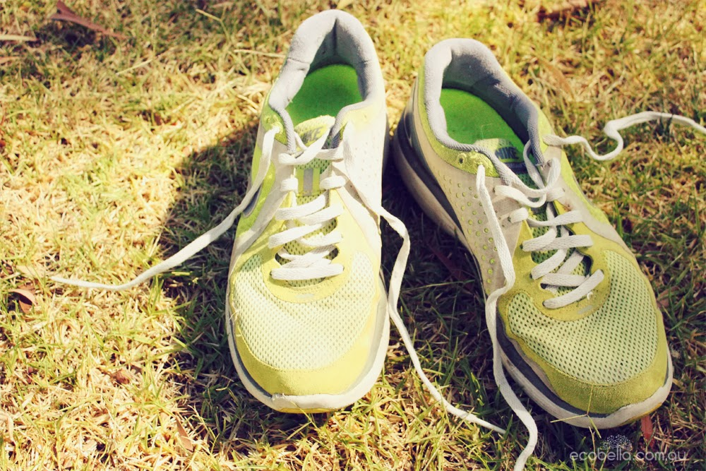 runners running shoes on the grass