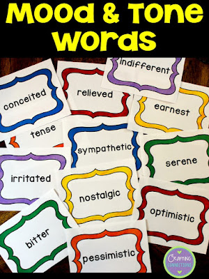 This free mood and tone activity features 16 vocabulary words, a writing activity, and an author's tone anchor chart.