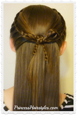 Faux lace braids and braided bow hair tutorial. Cross Bow Hairstyle.