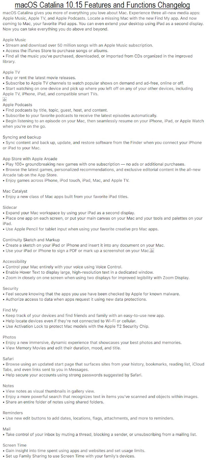 macOS 10.15 Catalina Changelog