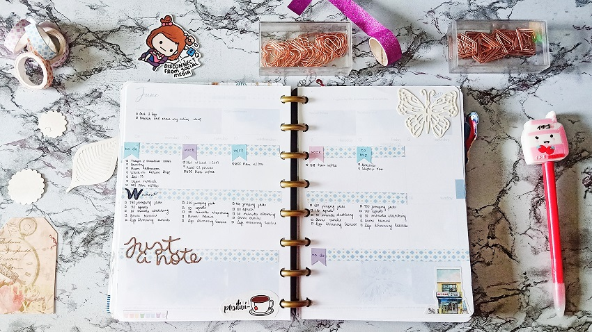 "June 2020: Purely Pastel Weekly Planner Spreads. ft. ""The Universe is in Me"" Belle De Jour Power Planner - Notes in the Corner - Article/Blog Post by Kathryn Grace of The Graceful Mist website (www.TheGracefulMist.com)"
